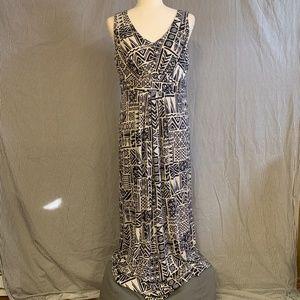 LOFT Geometric Aztec Print V-Neck Maxi Dress, Lg